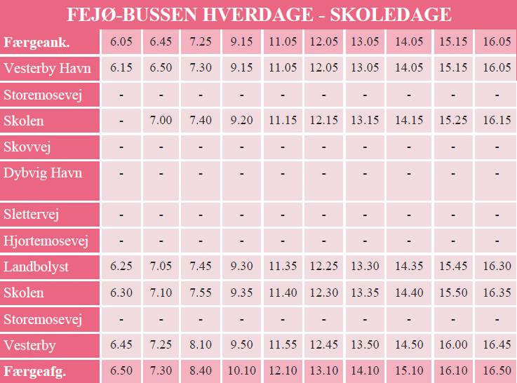 Køreplan for Fejøbussen skoledage
